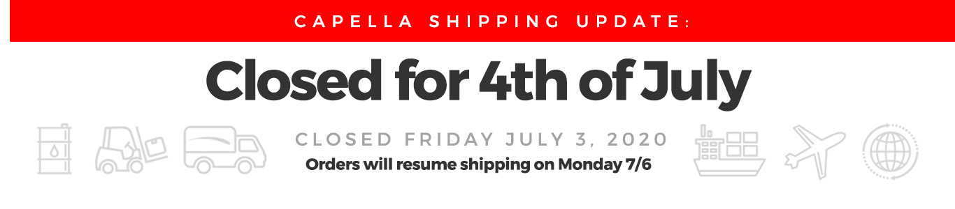 Closed Friday July 3rd for 4th of July Holiday. Shipping resumes Monday 7/6.