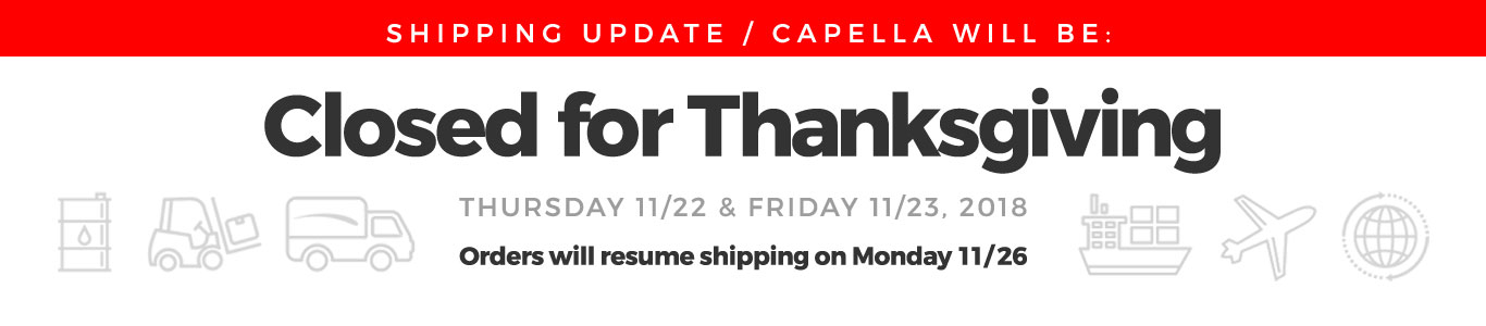 Capella will be closed for the Thanksgiving Holiday 2018