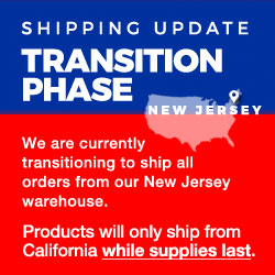 We are currently transitioning to ship all orders from our New Jersey warehouse.